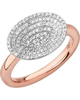 Concave 18ct Rose Gold Vermeil And Diamond Ring