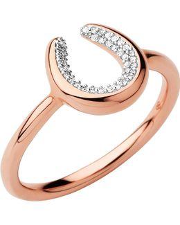 Ascot Diamond Essentials 18ct Rose Gold Vermeil Horseshoe Ring