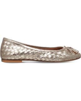 Luggage Metallic-leather Ballet Flats
