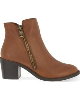 Skim Heeled Leather Ankle Boots