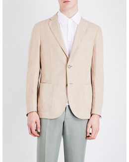 Single-breasted Linen And Cotton-blend Blazer
