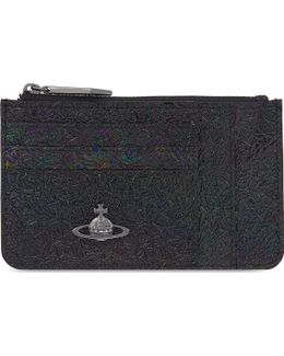Space Iridescent Leather Card Purse