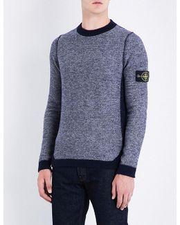 Mens Contrast Reversed-effect Wool-blend Jumper