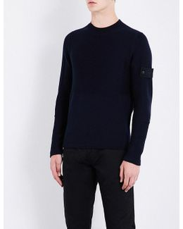 Mens Navy Ribbed Ghost Chunky-knit Wool Jumper