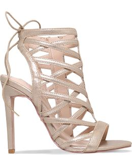Gracie Metallic Faux Suede Caged Sandals