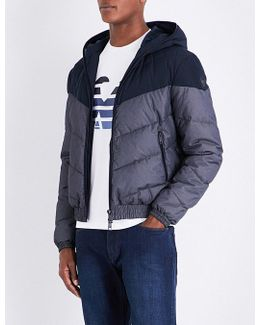 Chevron Quilted Hooded Shell Jacket