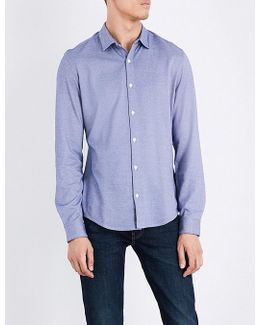 Geometric-pattern Slim-fit Cotton-blend Shirt