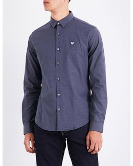Dot-print Slim-fit Stretch-cotton Shirt