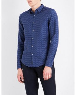 Eagle-print Slim-fit Cotton Shirt