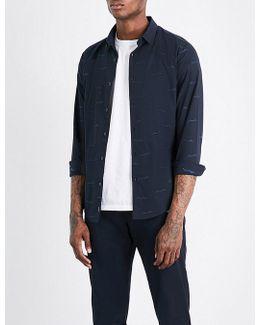Script-patterned Slim-fit Cotton Shirt