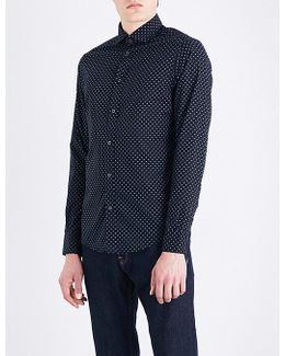 Eagle-print Slim-fit Stretch-cotton Shirt