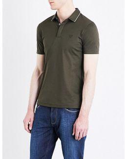 Contrast-tip Cotton Polo Shirt