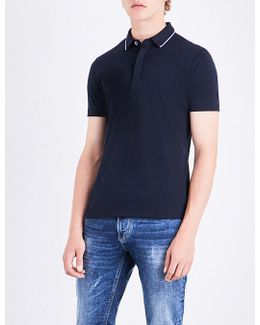 Contrast-tip Cotton Polo Shirt