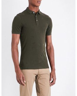 Eagle-flocked Stretch-cotton Piqué Polo Shirt
