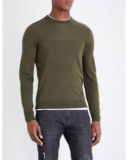 Contrast Panel Knitted Wool-blend Jumper