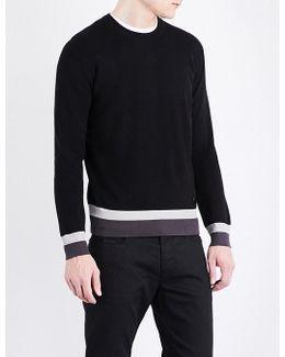 Striped-hem Knitted Jumper