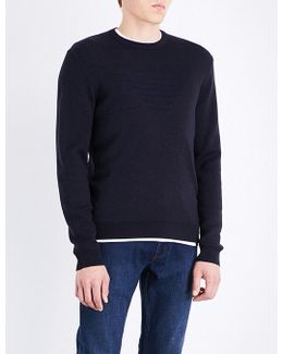 Eagle-embossed Knitted Jumper