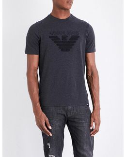 Eagle-flocked Stretch-cotton T-shirt
