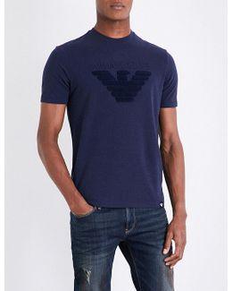 Eagle-flocked Stretch-cotton T-shirt