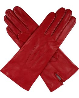 Hand-Sewn Silk-Lined Leather Gloves - For Women