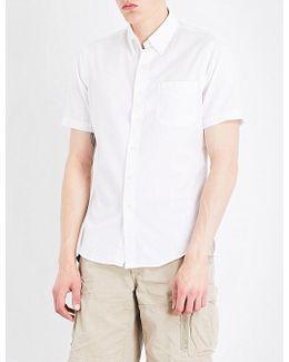 Pinstriped-textured Slim-fit Cotton Shirt