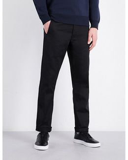Slim-fit Straight Cotton-twill Trousers