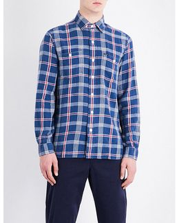 Checked Slim-fit Linen And Cotton-blend Shirt