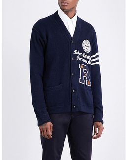 Varsity-embroidered Cotton And Linen-blend Cardigan