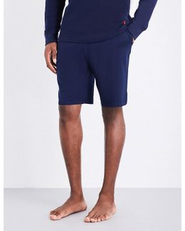 Mens Navy Embroidered Stylish Stretch-jersey Pyjama Shorts