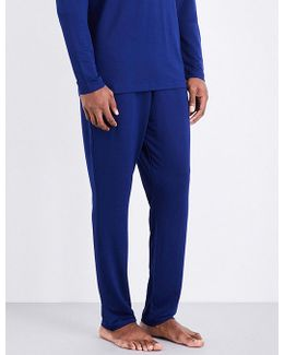 Mens Blue Embroidered Iconic Stretch-jersey Pyjama Trousers