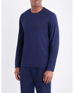 Mens Navy Embroidered Stretch-jersey Pyjama Top