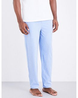 Mens Light Blue Embroidered Modern Slim-fit Oxford-cotton Pyjama Trousers