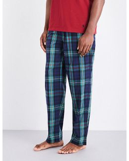Mens Blue Checked Ultra Light Cotton Pyjama Bottoms