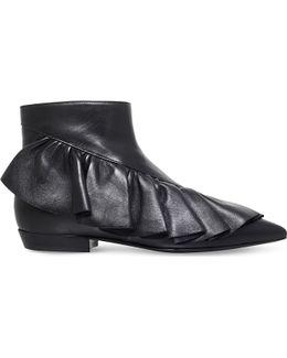 Ruffle Leather Booties