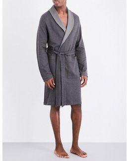 Mens Charcoal Herringbone Traditional Cotton-blend Robe