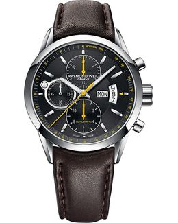 Freelancer Automatic Chronograph Stainless Steel Leather Strap Watch