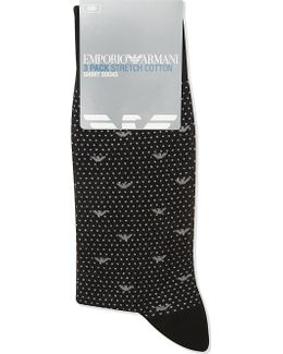 Mens Black Polka Dot Formal Logo Cotton-blend Socks 3-pack
