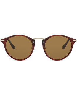 Po3166s Round-frame Tortoiseshell Sunglasses