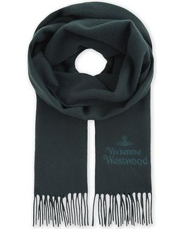 Logo Embroidered Fringed Scarf