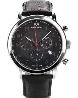 87wa120047 Stainless Steel And Leather Chronograph Watch