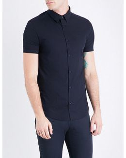 Slim-fit Stretch-cotton Short-sleeved Shirt