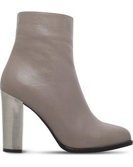 Salvador Metallic-heel Leather Ankle Boots
