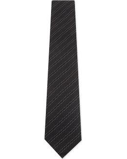 Checkered Stripe Silk Tie