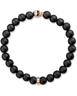 Rebel At Heart Gold-plated And Matte Obsidian Bracelet