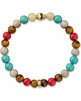 Rebel At Heart Gold-plated Beaded Skull Bracelet