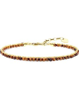 Chakra 18ct Yellow Gold-plated Tiger's Eye Beaded Bracelet