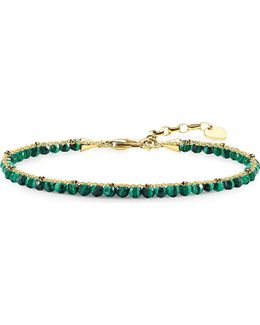 Chakra 18ct Yellow Gold-plated And Green Malachite Bracelet