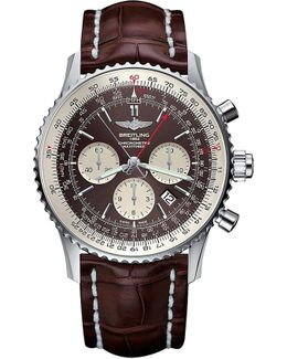 Ab031021/q615/756p Navitimer Rattrapante Stainless Steel And Leather Chronograph Watch