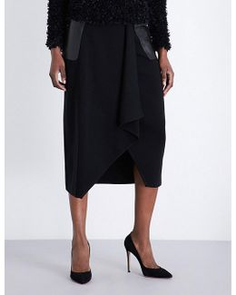Leather-panel Asymmetric Wool Skirt