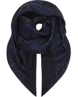 Abstract Geometric Silk Scarf